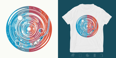 Vinyl disk universe and music notes. Print for t-shirts and another, trendy apparel design. Symbol of space music, meditation, dream, inspiration
