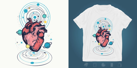 Heart in space. Print for t-shirts and another, trendy apparel design.  Symbol of love, philosophy, psychology, imagination, dream