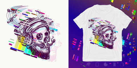 Human skull glitch. Print for t-shirts and another, trendy apparel design. Hipster hat and headphones
