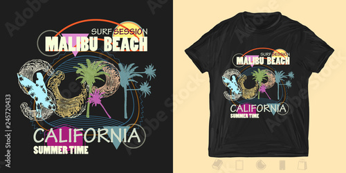 ace0ce97 Surfing California. Malibu beach. Fashion modern print for t-shirts and  another, trendy apparel design