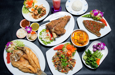 Tradition Southern Thai food. on  table, top view