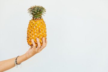 hand holds healthy tasty exotic fruit