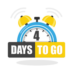 Number of 4 days to go flat icon. Vector stock flat illustration
