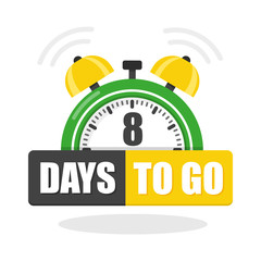 Number of 8 days to go flat icon. Vector stock flat illustration