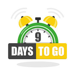 Number of 9 days to go flat icon. Vector stock flat illustration