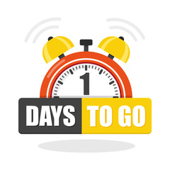 Number of 1 days to go flat icon. Vector stock flat illustration.