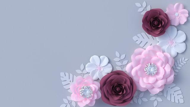 Paper flowers wallpaper, floral corner decoration, Mothers day spring background, 3d rendering