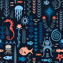 Seamless pattern with underwater plants and animals. Concept for nursery prints, textile, wallpapers. Red and blue palette on a dark background