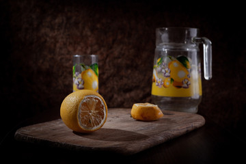 Lemons with Glass and Pitcher