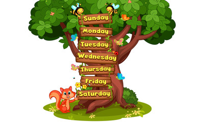 7 days of the week cartoon illustration
