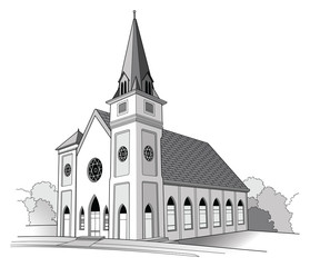 Church Line Drawing is a detailed illustration of a church.It has the shape of a traditional church but is an imaginary building
