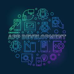 App Development vector round concept colored outline illustration on dark background