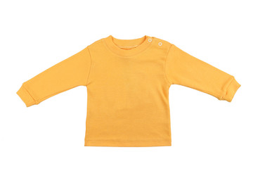 Blank yellow child top isolated on a white background. Front view
