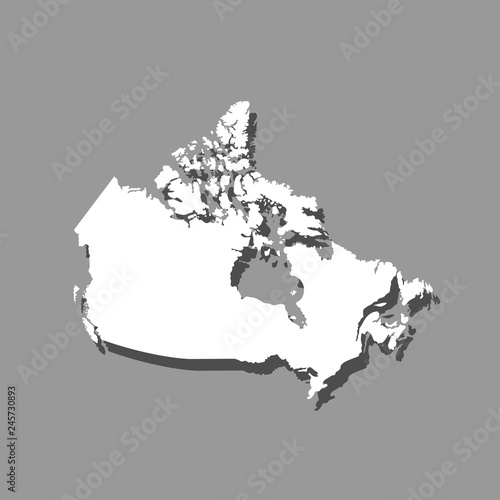 Map Of Canada Silhouette.Vector Isolated Simplified Illustration Icon With White Silhouette