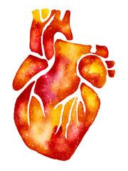 Orange heart with galaxy effect