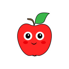 A wonderful concept of red apple with eyes on a white background