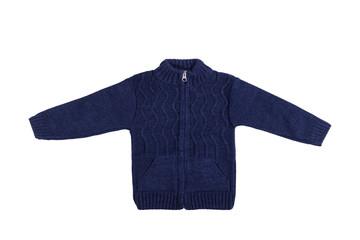 Children dark blue long sleeve jumper isolated on a white background.