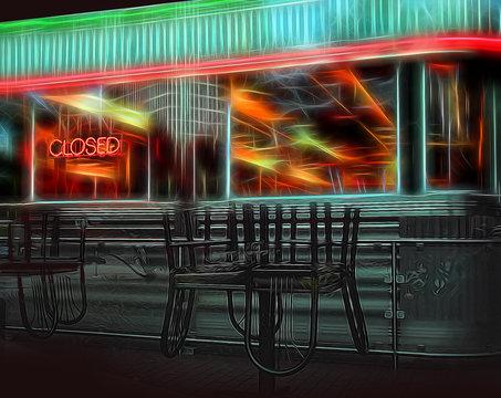 closed retro diner depiction