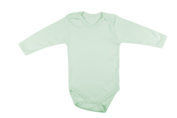 Long sleeve green baby onesie isolated on white background.