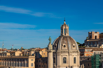Church of the Most Holy Name of Mary (hiesa del Santissimo Nome di Maria) at the Trajan Forum and the Trajan's Column in Rome, Italy.
