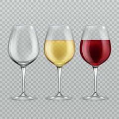 Wineglass. Empty with red and white wine in transparant wineglasses isolated glassware vector illustration