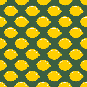Lemon whole fruit seamless art on green pattern background