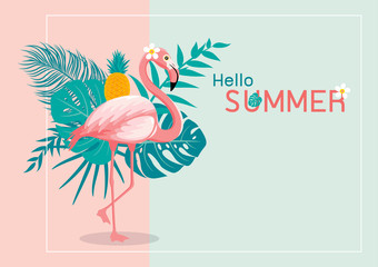 Summer banner design of flamingo and tropical leaves with copy space vector illustration