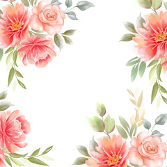 frame from pictures of flowers with leaves on a white background. business card with roses and peonies
