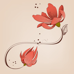 Fototapete - Swirly floral ornament, coral red flowers design