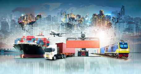 Global business logistics import export background and container cargo freight ship transport concept - fototapety na wymiar