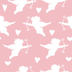 Seamless background with angels, cupids and hearts. Silhouettes.Pink