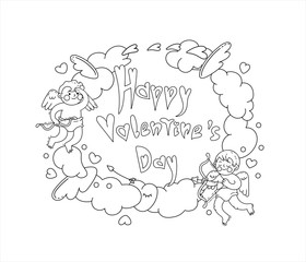 Cartoon greeting card for Valentine's day with cupids, clouds, hearts, wings,arrows and hand written text Happy Valentine's day. Vector line art black and white illustration. Can used for design greet