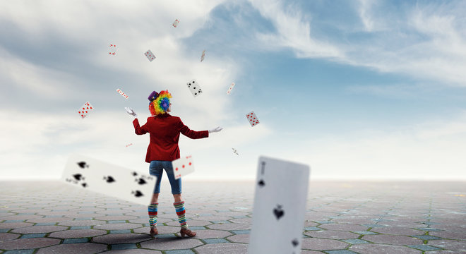 Juggling woman clown . Mixed media