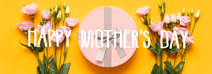 Happy Mother's Day Banner. Bright Yellow and Pastel Pink Colored Mother Day Banner. Flat lay...