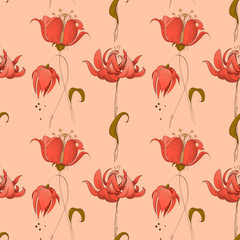 Fototapete - Floral seamless pattern in pink coral retro style