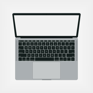 Top view of modern laptop with Eng keyboard isolated on white background.