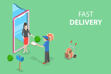 Isometric flat vector concept of fast delivery service, courier service, goods shipping, food online ordering.
