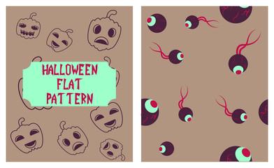 Set of Halloween festive pattern. Endless background with pumpkins, skulls, bats, spiders, ghosts, bones, candies, spider web