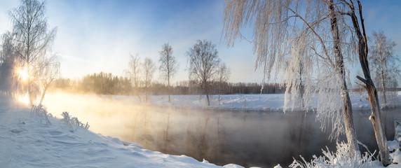 Fototapeta панорама рассвета на Рефтинском водохранилище зимой, Россия Урал, февраль