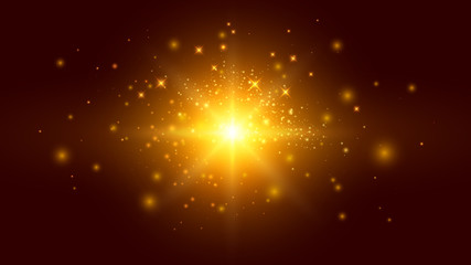 Golden Background with Particles and Light Effects