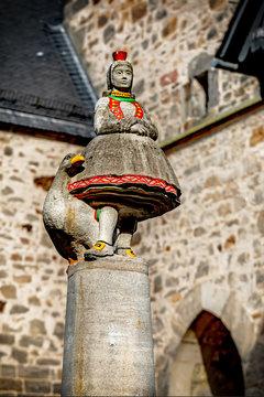 Little Red Riding Hood statue in Alsfeld, Hesse, Germany, Europe.