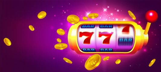 Trendy Casino Vector with Slot Machine and Coins