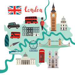 Fototapete - London map vector. Abstract atlas poster. Illustrated map of London for children/kid. Colorful landmarks design Capital of Great Britain icon. Tower bridge. London symbols red phone booth and bus