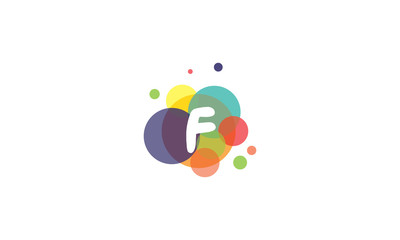 Bright and colorful image of the letter F, against the background of multicolored circles.