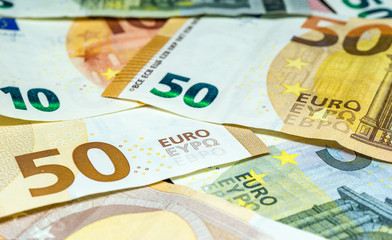 euro banknotes - fifty, ten and five euro bills