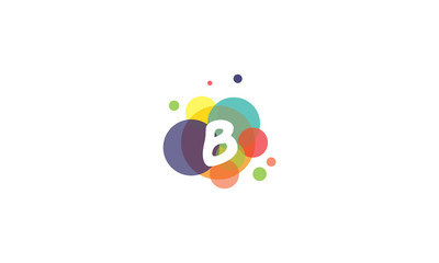 Bright and colorful image of the letter B, against the background of multicolored circles.
