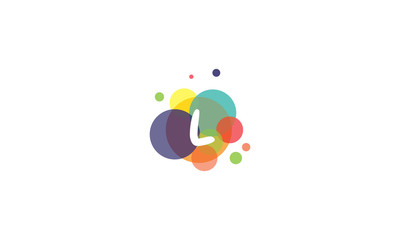 Bright and colorful image of the letter L, against the background of multicolored circles.