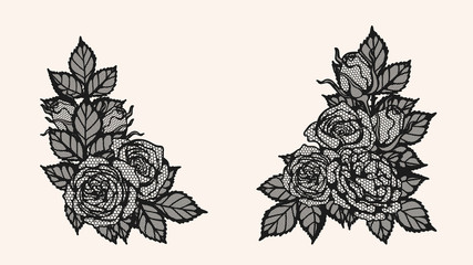 Rose lace ornament vector by hand drawing.Beautiful flower on brown background.Sunset memory rose vector art highly detailed in line art style.Flower tattoo for paint or pattern.
