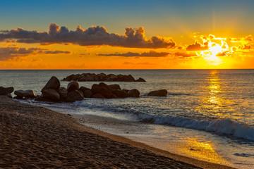 Obraz Landscape of sunrise on the sea beach, Santorini, Greece - fototapety do salonu