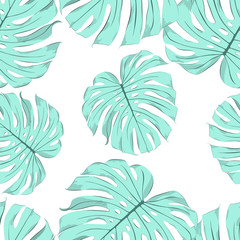 Seamless tropical floral background with m